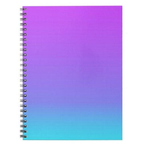 violet teal fade spiral note book
