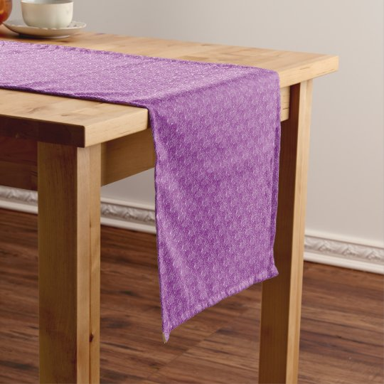 violet textured short table runner