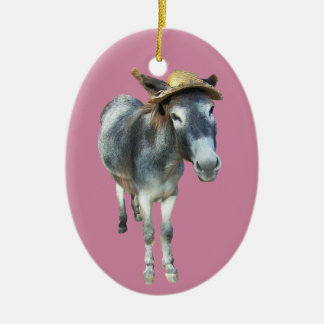 Violet the Donkey in Straw Hat with Flowers Ceramic Ornament