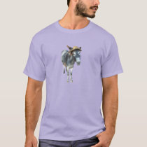 Violet the Donkey in Straw Hat with Flowers T-Shirt