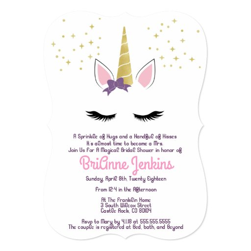 Violet the Unicorn Bridal Shower Invite