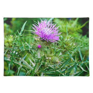Violet thistle bloom - island Sicily Cloth Placemat