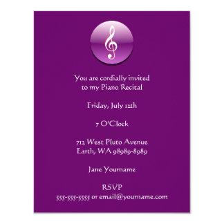 """Violet Treble Clef Button 4.25"""" X 5.5"""" Invitation Card"""