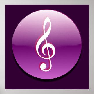 Violet Treble Clef Button Poster