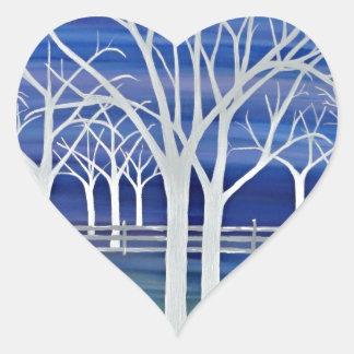 Violet Trees Heart Sticker