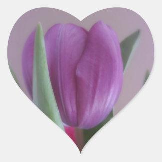 Violet Tulip Heart Sticker