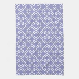 Violet Tulip Quatrefoil Tea Towel