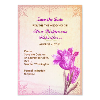 violet tulips save the date invitation