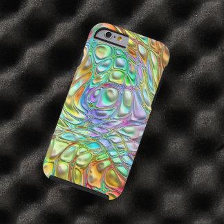 Violet Turquoise Orange Pink Retro Swirl Pattern Tough iPhone 6 Case
