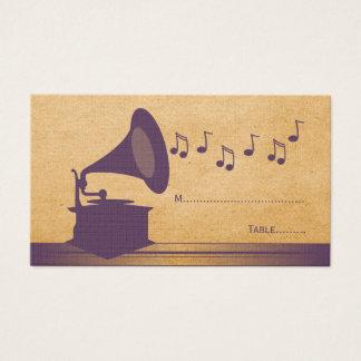Violet Vintage Gramophone Place Card