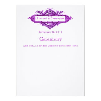 Violet Vintage Wedding Program Custom Announcements