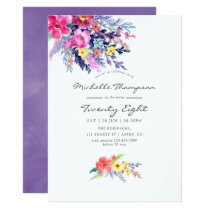 Violet Watercolor Floral Any Age Birthday Party Invitation