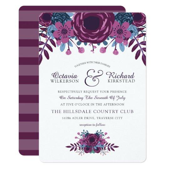 Violet Watercolor Floral Wedding Invitation
