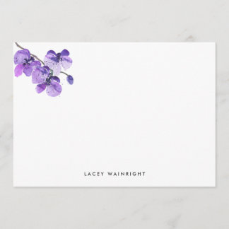 Violet Watercolor Orchid Personalized Stationery Note Card