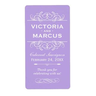Violet Wedding Wine Bottle Monogram Favor Labels