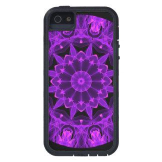 Violet Wheel of Fire Mandala, Abstract Flames iPhone 5 Case