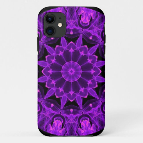 Violet Wheel of Fire Mandala, Abstract Flames iPhone 11 Case