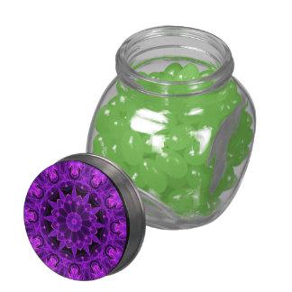 Violet Wheel of Fire Mandala, Abstract Flames Glass Jar