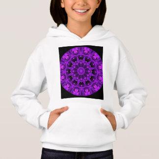 Violet Wheel of Fire Mandala, Abstract Flames Hoodie