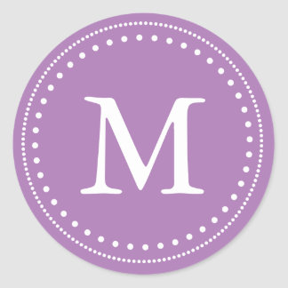 Violet & White Monogram Envelope Seal Classic Round Sticker