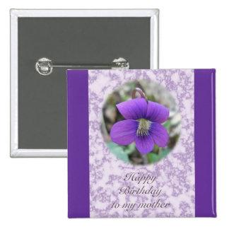Violet Wildflower Mother Birthday Items Button