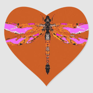 Violet Winged Dragonfly Caramel gifts by Sharles Heart Sticker