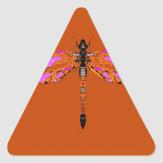 Violet Winged Dragonfly Caramel gifts by Sharles Triangle Sticker