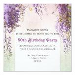 Violet wisteria personalized birthday invitation