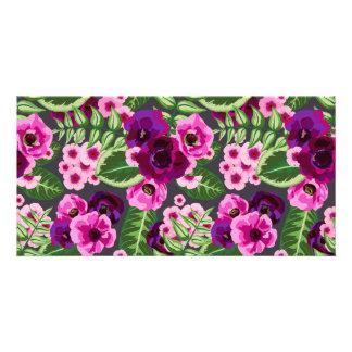 Violet X Pink Flowers Pattern Card