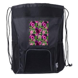Violet X Pink Flowers Pattern Drawstring Backpack