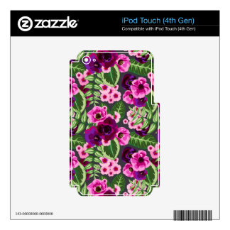 Violet X Pink Flowers Pattern iPod Touch 4G Skin
