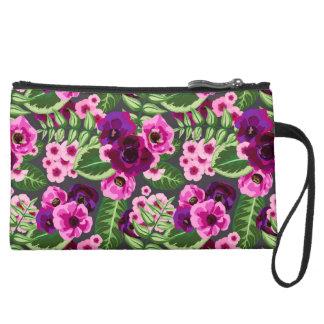 Violet X Pink Flowers Pattern Suede Wristlet