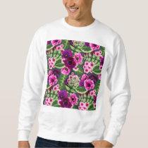 Violet X Pink Flowers Pattern Sweatshirt