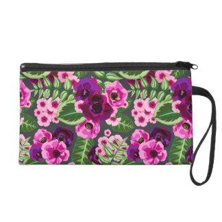 Violet X Pink Flowers Pattern Wristlet Purse