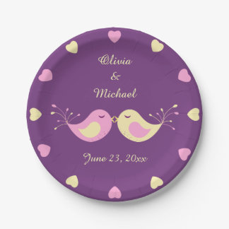 Violet Yellow Love Birds Personalized Paper Plate