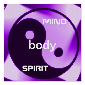 Violet Yin Yang Art Zen Holistic health Poster