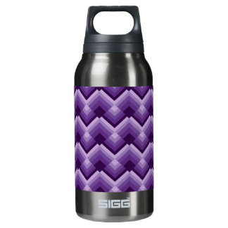 Violet zig zag squares insulated water bottle