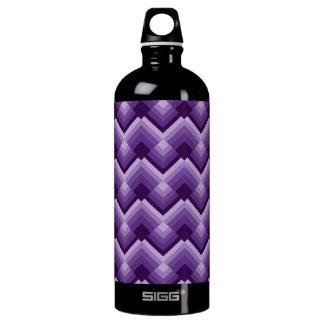 Violet zig zag squares water bottle