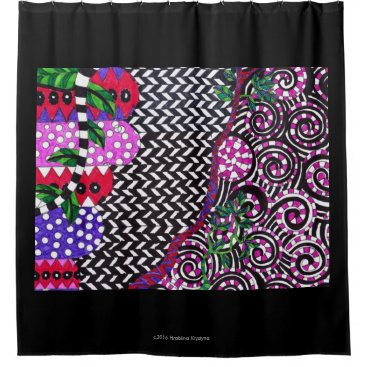 Ocean Themed VIOLET ZIGZAG ABSTRACT SHOWER CURTAIN 2
