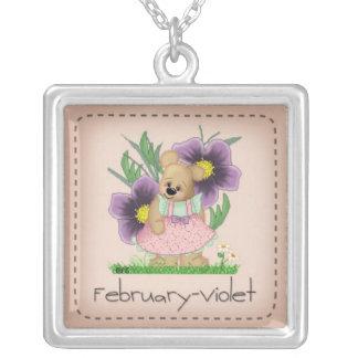 Violeta Birthflower de febrero del oso de Colgante Cuadrado