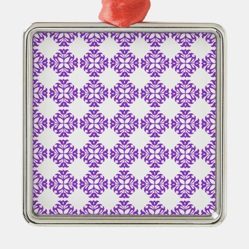 Violeta clásica de la impresión del modelo del adorno cuadrado plateado