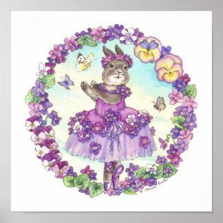 Violeta de la impresión del conejito de la bailari póster