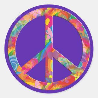 Violeta de la paz el | del flower power etiqueta redonda