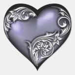 Violeta de la voluta del corazón calcomanías corazones
