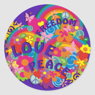Violeta del arco iris el | del flower power pegatina redonda