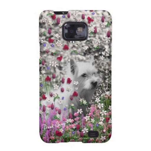 Violeta en flores - perro blanco de Westie Samsung Galaxy SII Funda