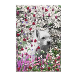 Violeta en flores - perro blanco de Westie Lona Envuelta Para Galerias