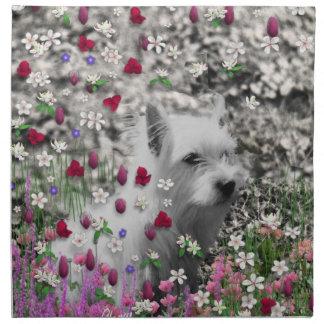 Violeta en flores - perro blanco de Westie Servilletas De Papel