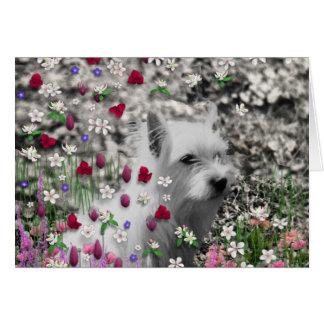Violeta en flores - perro blanco de Westie Tarjeta De Felicitación
