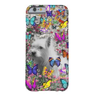 Violeta en mariposas - perro blanco de Westie Funda De iPhone 6 Barely There